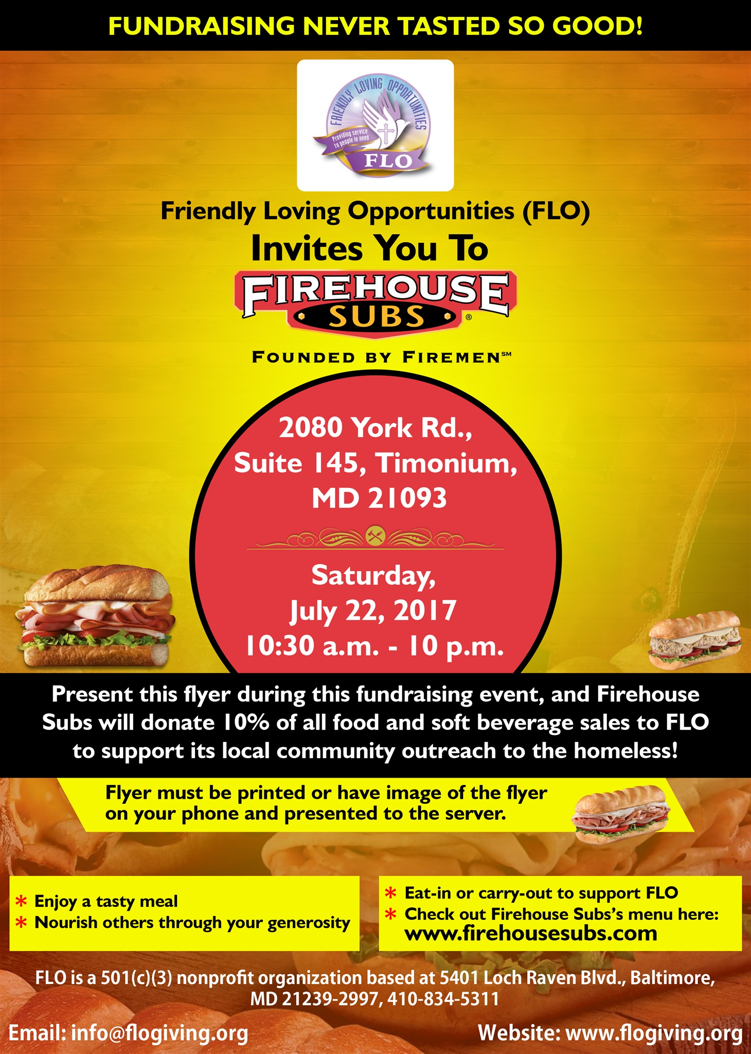 FLO's Fundraiser at Firehouse Subs
