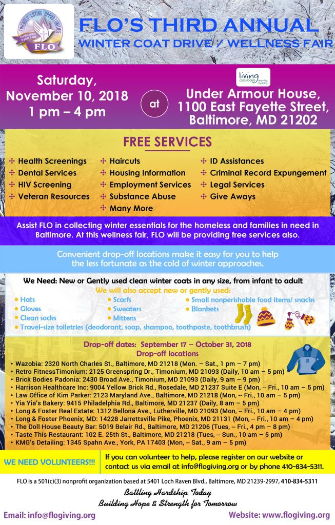 FLO's 3rd Annual Winter Coat Drive and Wellness Fair