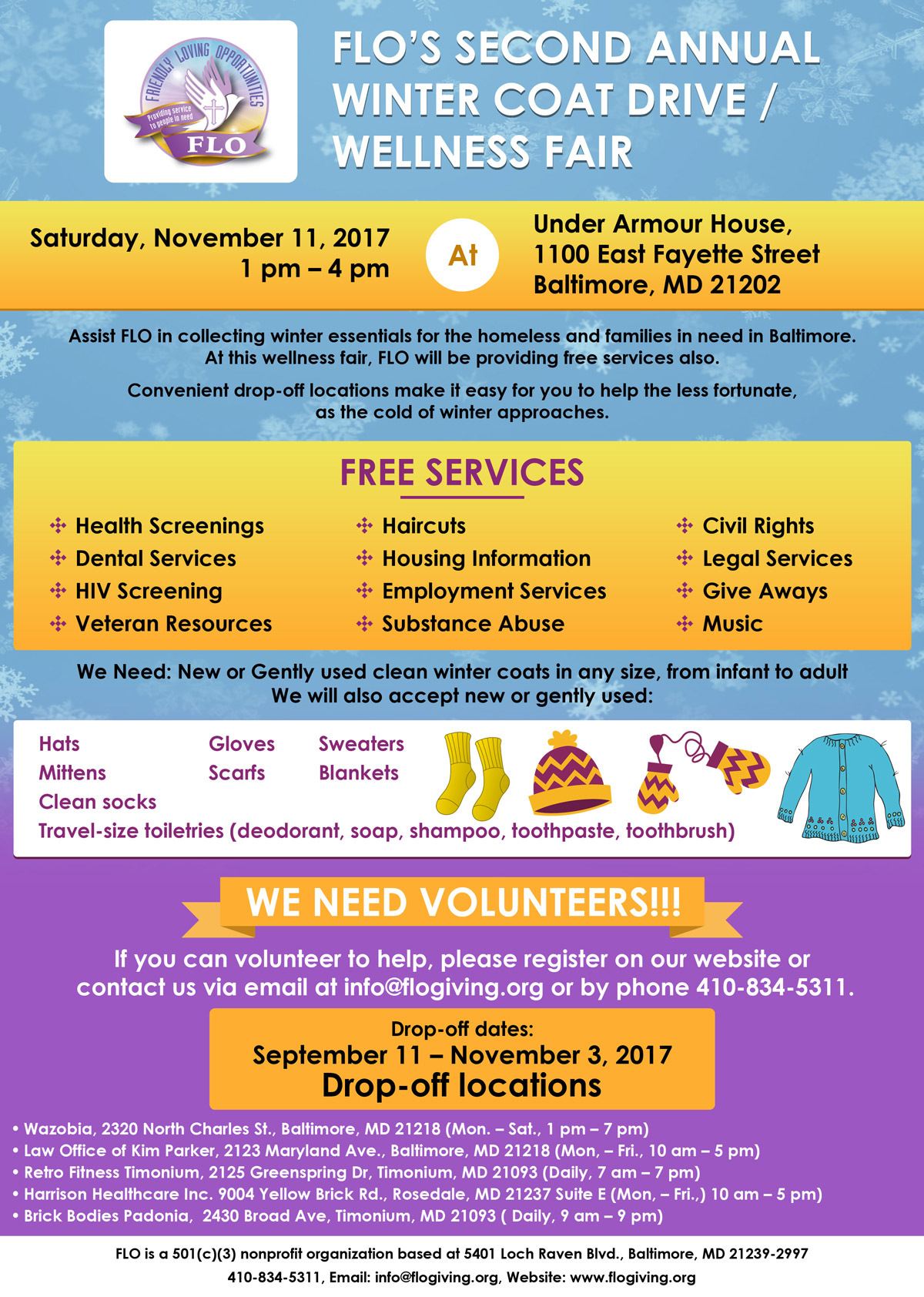 FLO's 2nd Annual Winter Coat Drive and Wellness Fair